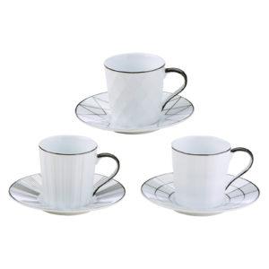 Set of 3 Lux Espresso Cups & Saucers Black