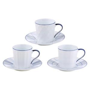 Set of 3 Lux Espresso Cups & Saucers Blue