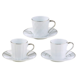 Set of 3 Lux Espresso Cups & Saucers Silver