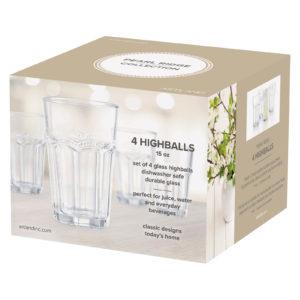 Set of 4 Pearl Ridge Hiball Tumblers