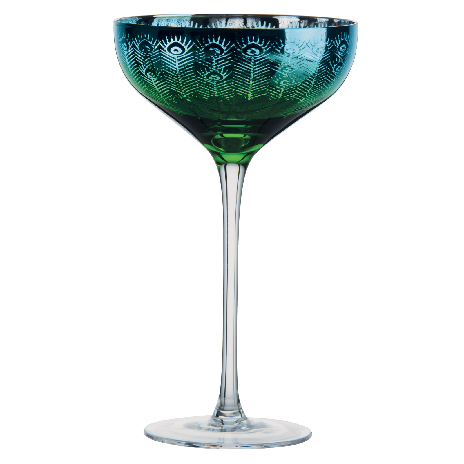 Set of 2 Peacock Champagne Saucers