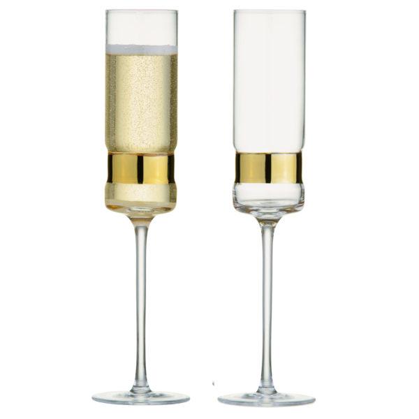 Set of 2 SoHo Champagne Flutes Gold