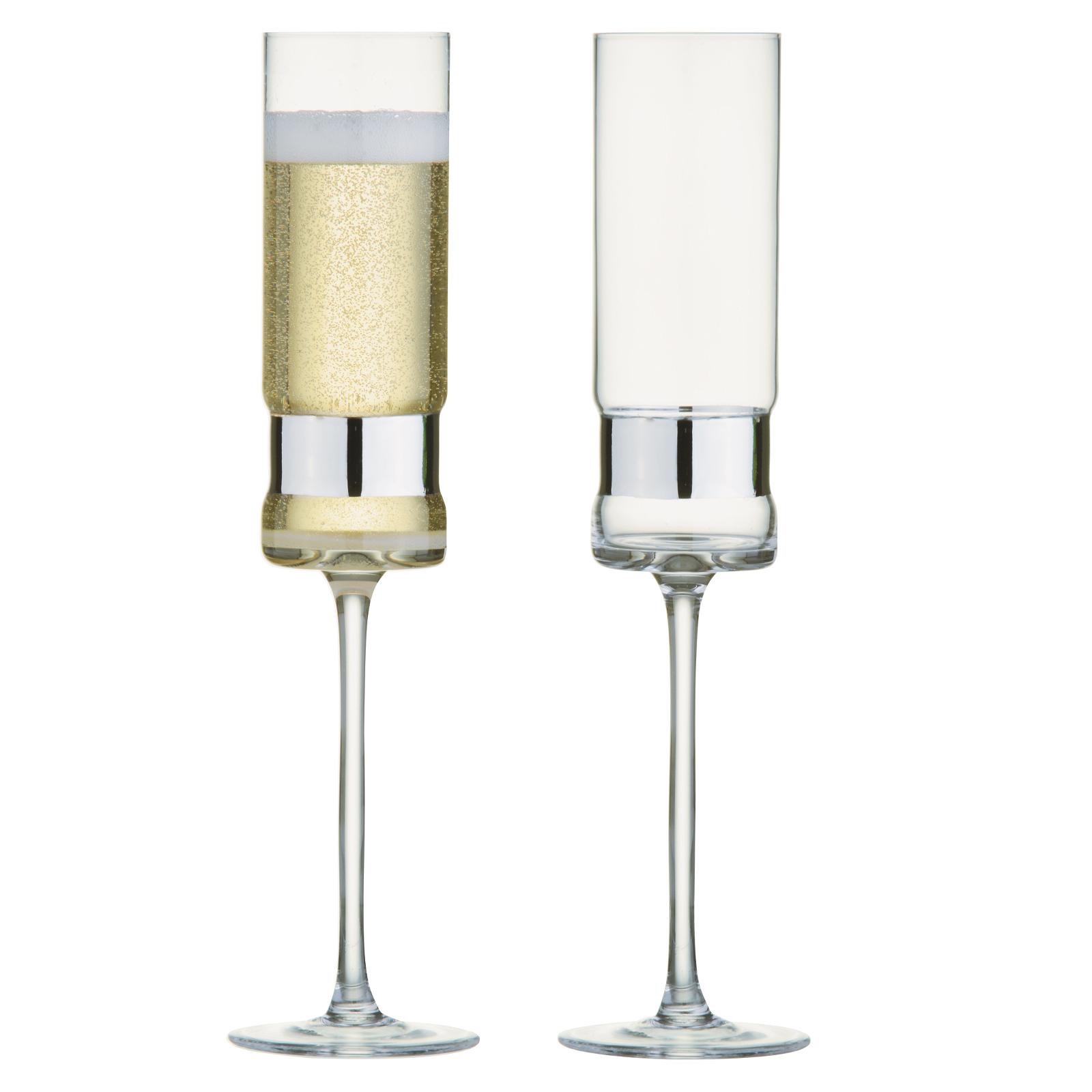 Set of 2 SoHo Champagne Flutes Silver