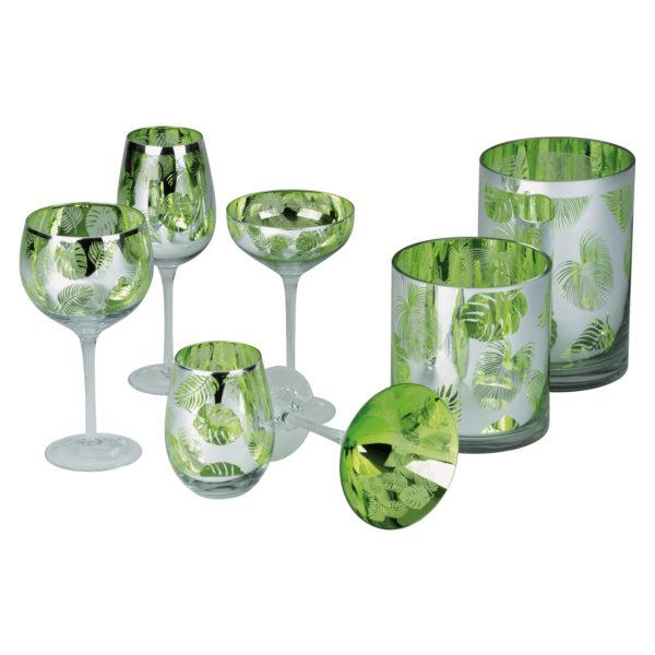 Tropical Leaves Wine Glass